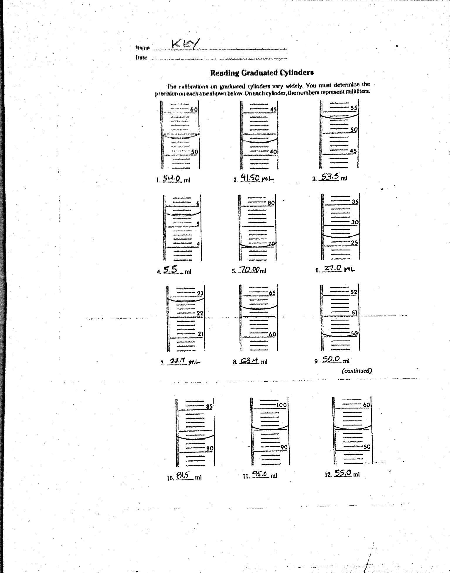 Triple Beam Balance Practice Worksheet Measurement Mass and Volume Mr Gibbs Science
