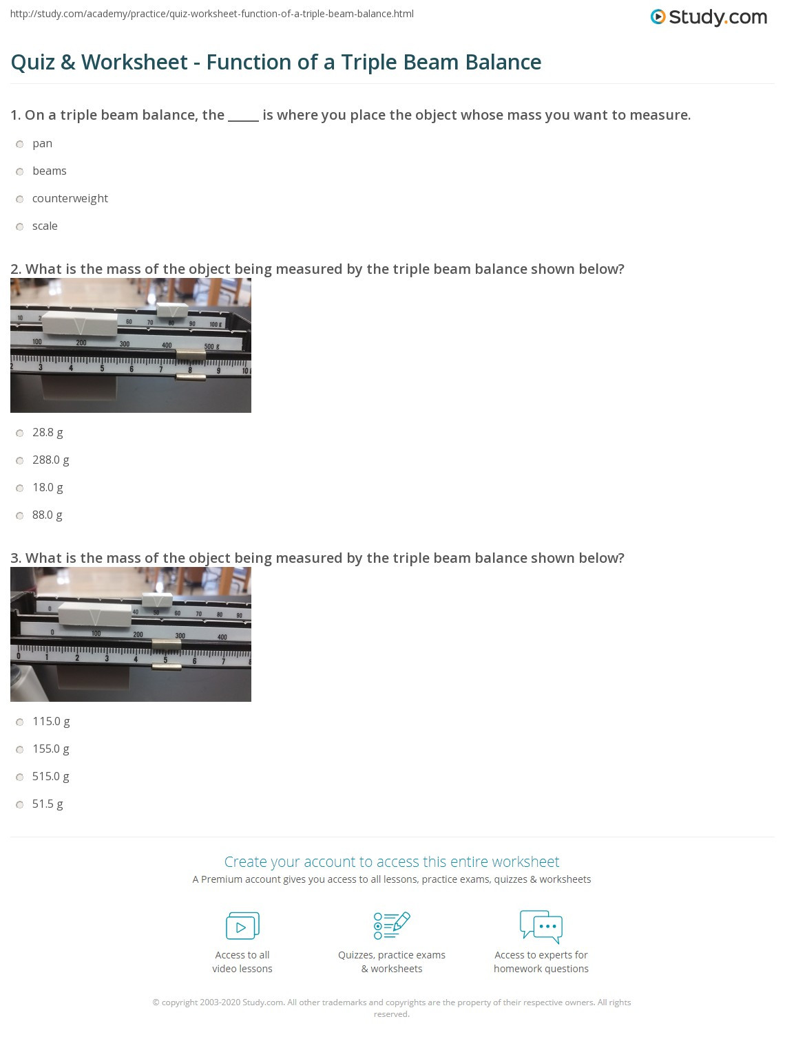 Triple Beam Balance Practice Worksheet Quiz & Worksheet Function Of A Triple Beam Balance