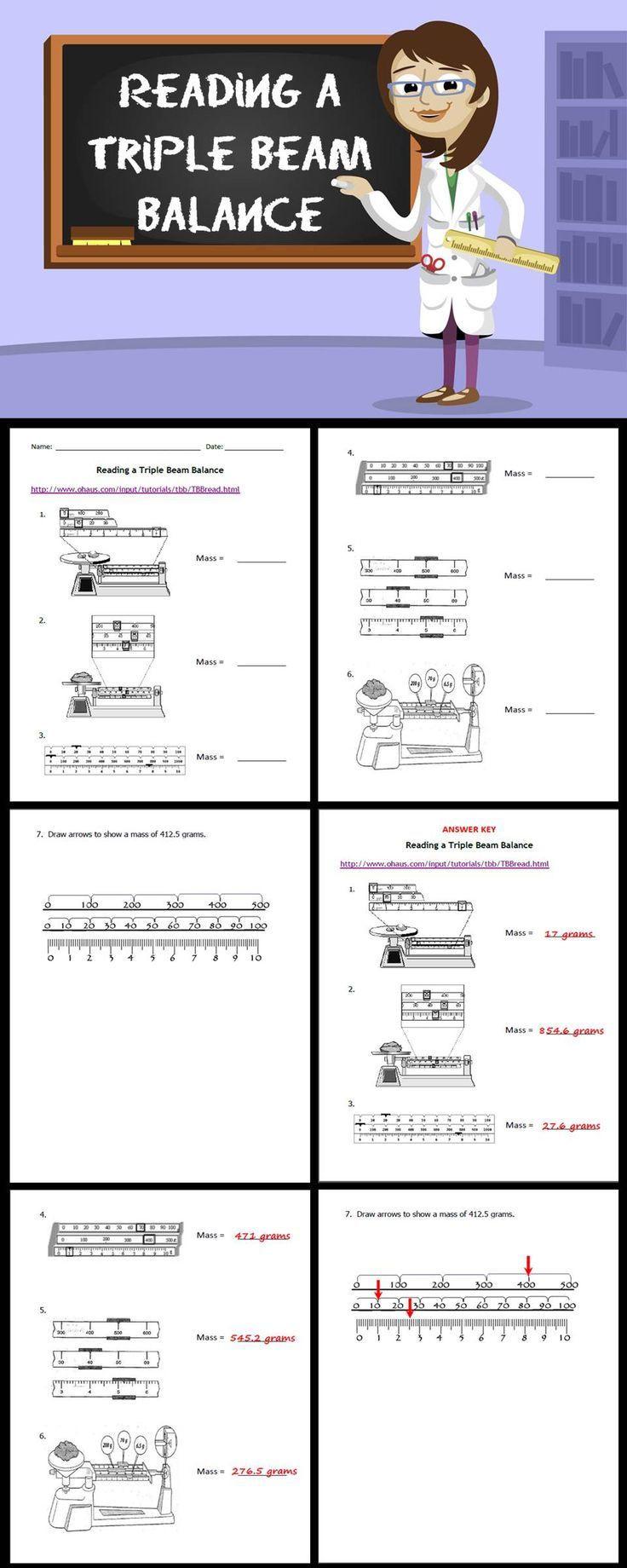 Triple Beam Balance Practice Worksheet Reading A Triple Beam Balance
