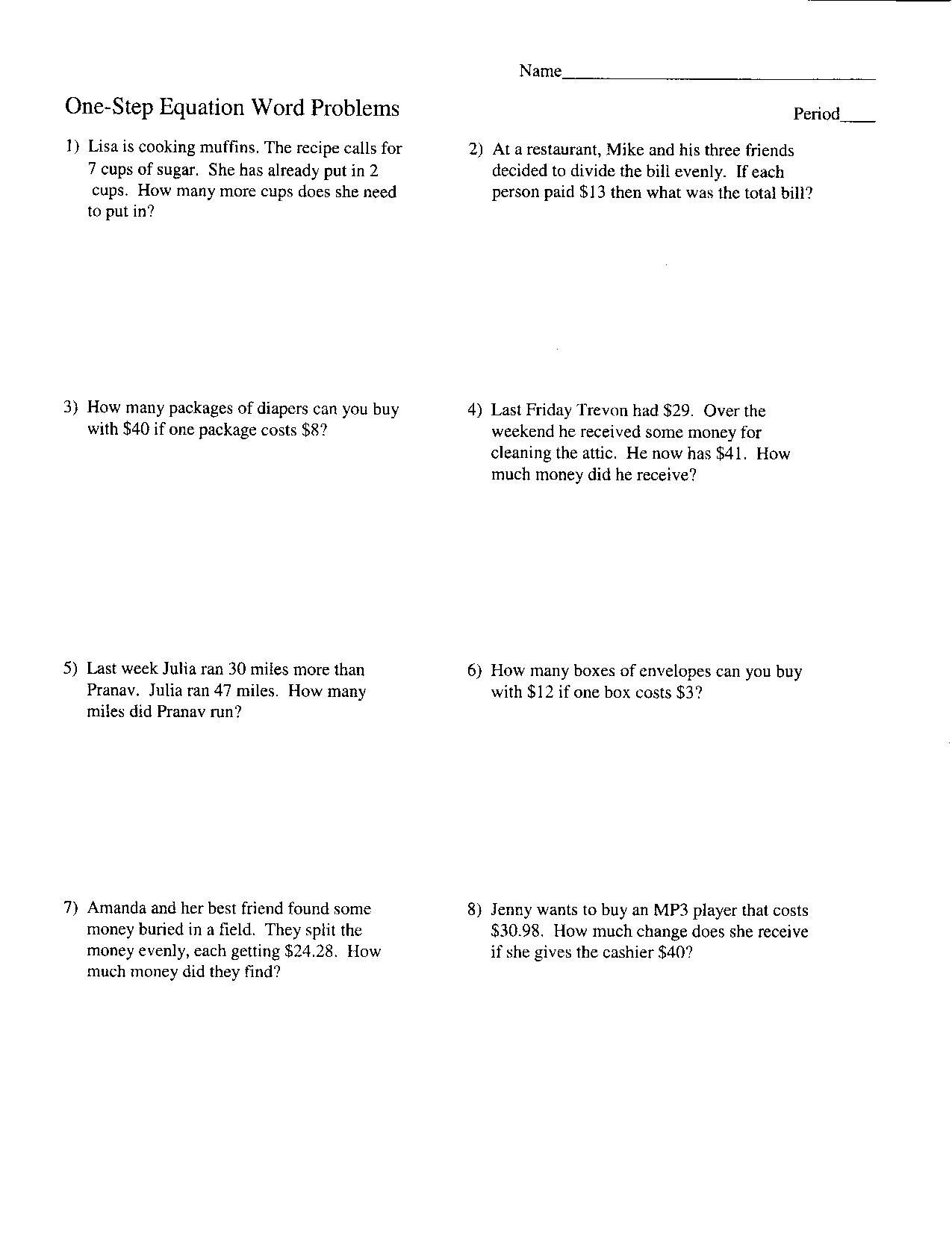 Two Step Equations Worksheet Aa 5th Step Worksheet