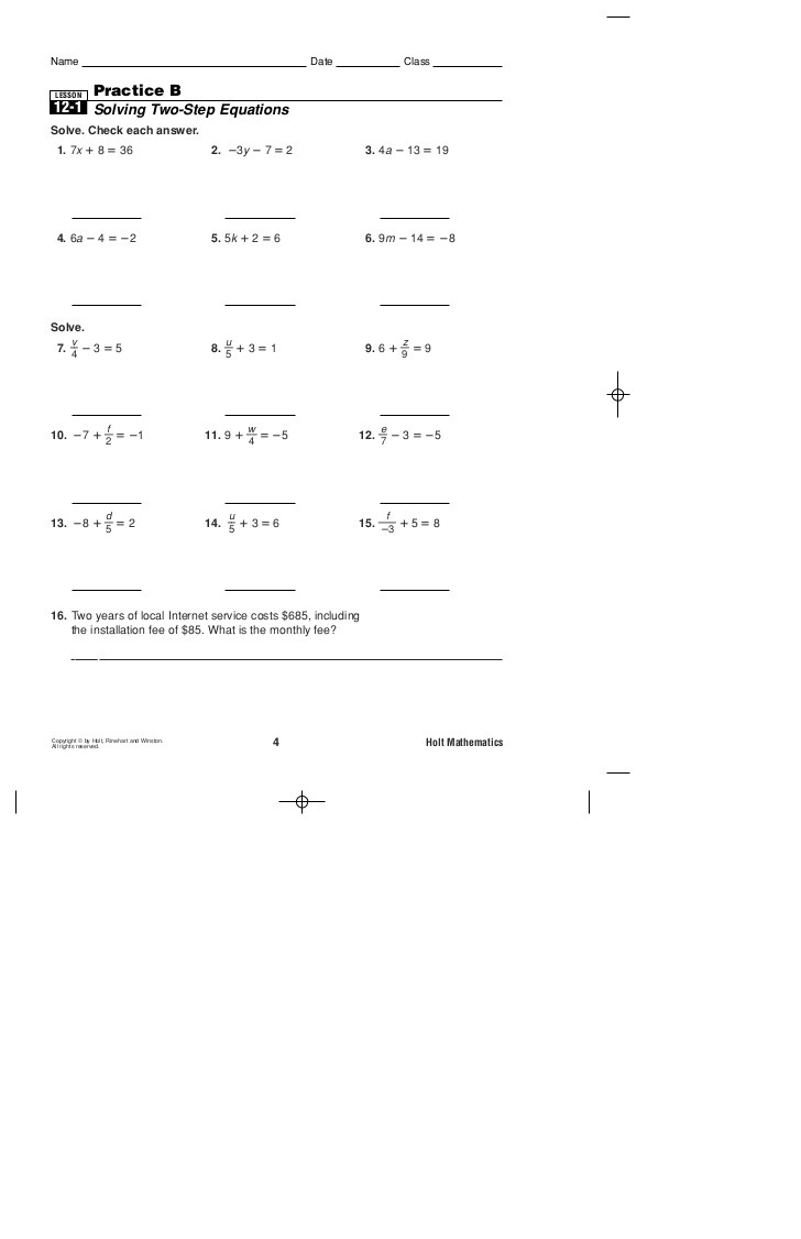 Two Step Equations Worksheet Practice B 2 Step Equations