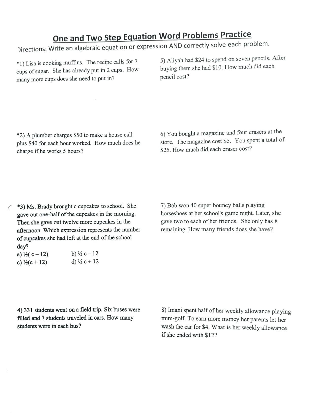 Two Step Equations Worksheet solving E Step Equations Word Problems Worksheet Doc