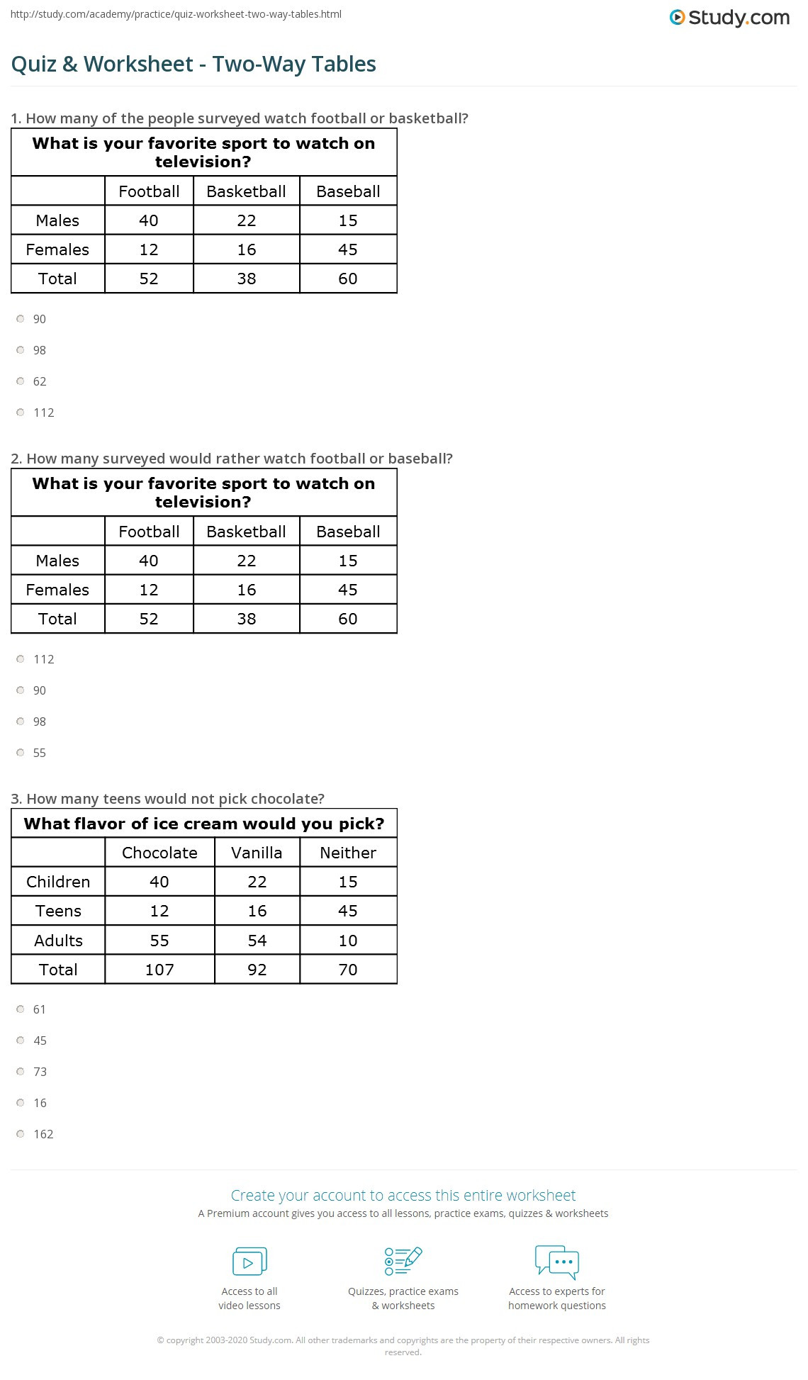 31 2 way frequency table worksheet