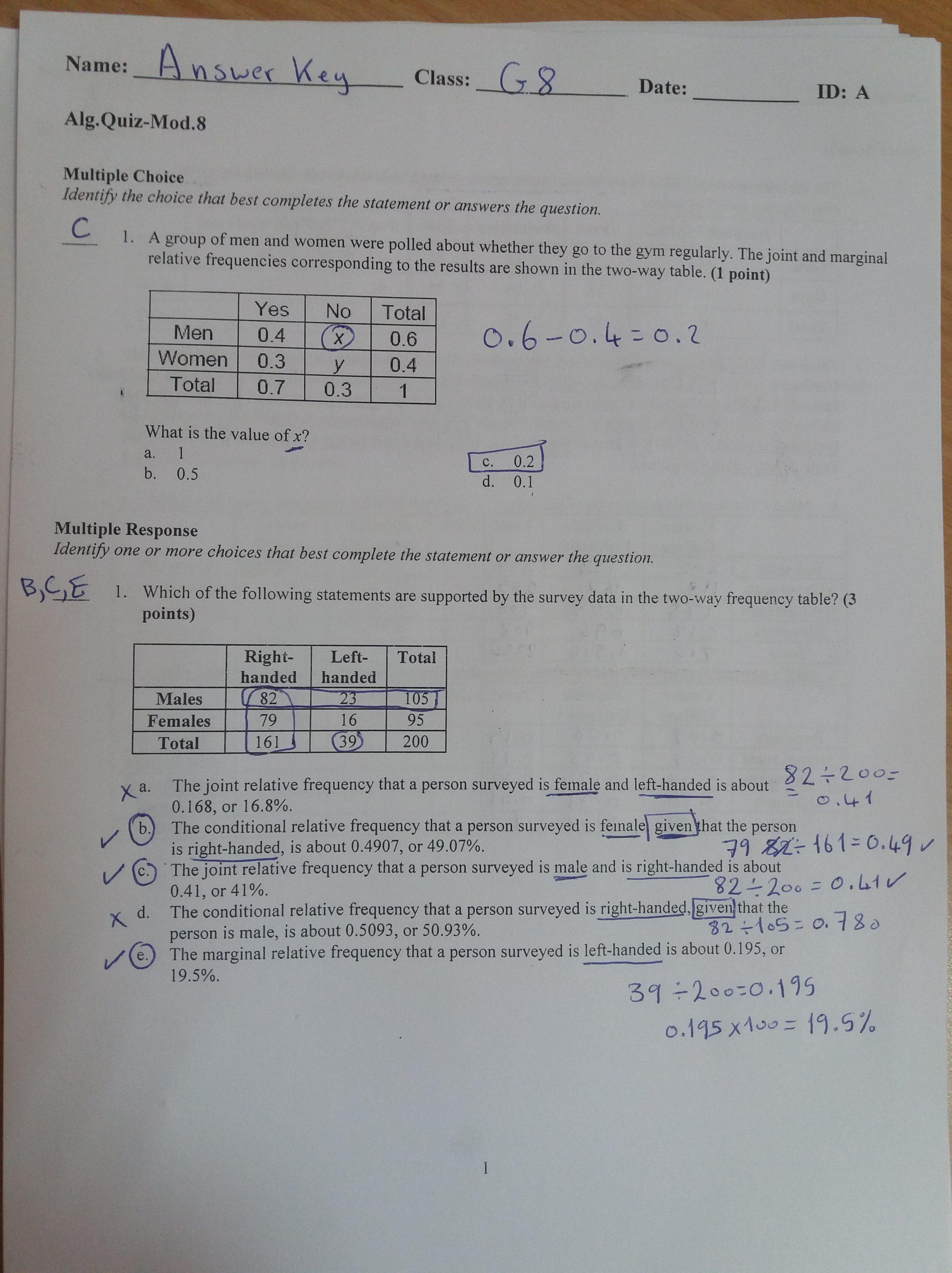 Two Way Frequency Table Worksheet Algebra 1