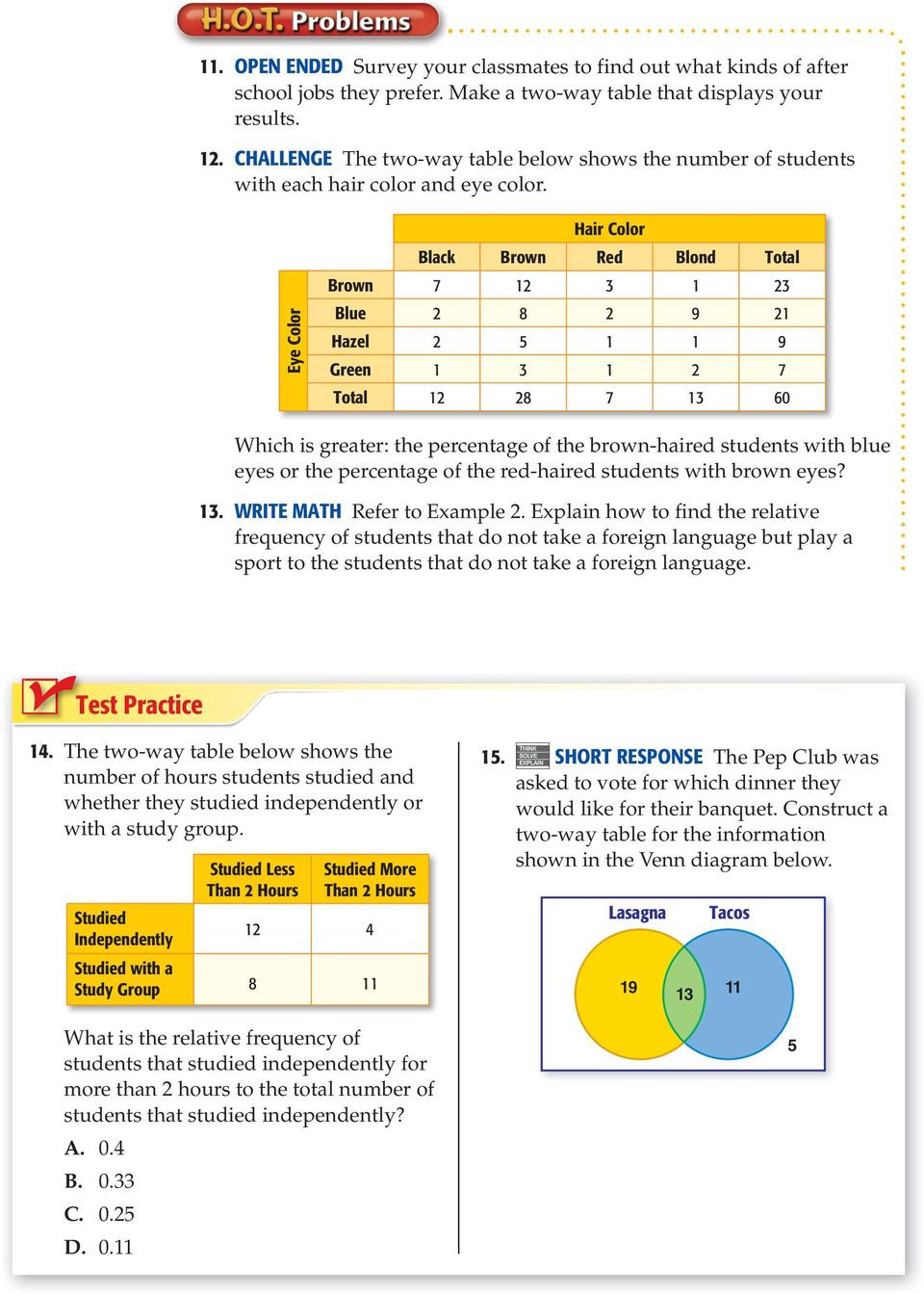 Two Way Frequency Table Worksheet Two Way Tables Lesson 16 Main Idea New Vocabulary Two Way