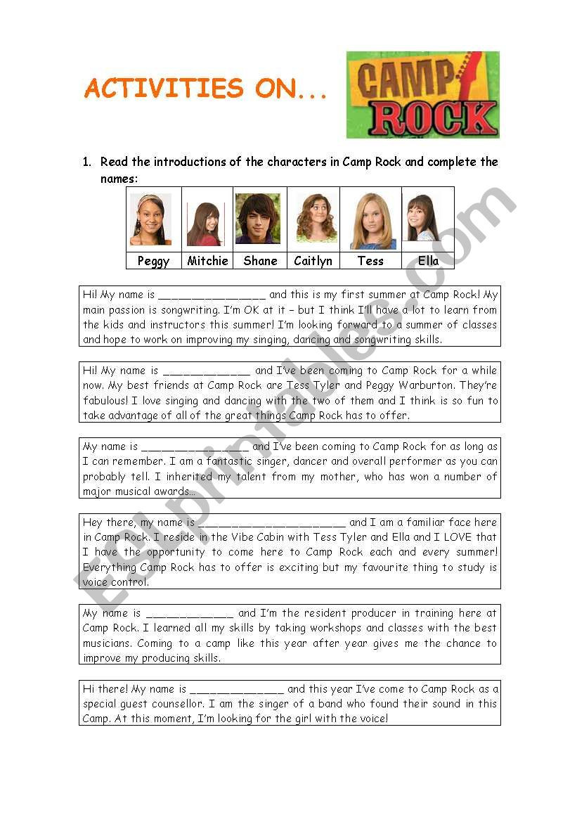 Types Of Rock Worksheet Camp Rock Esl Worksheet by Laurabc
