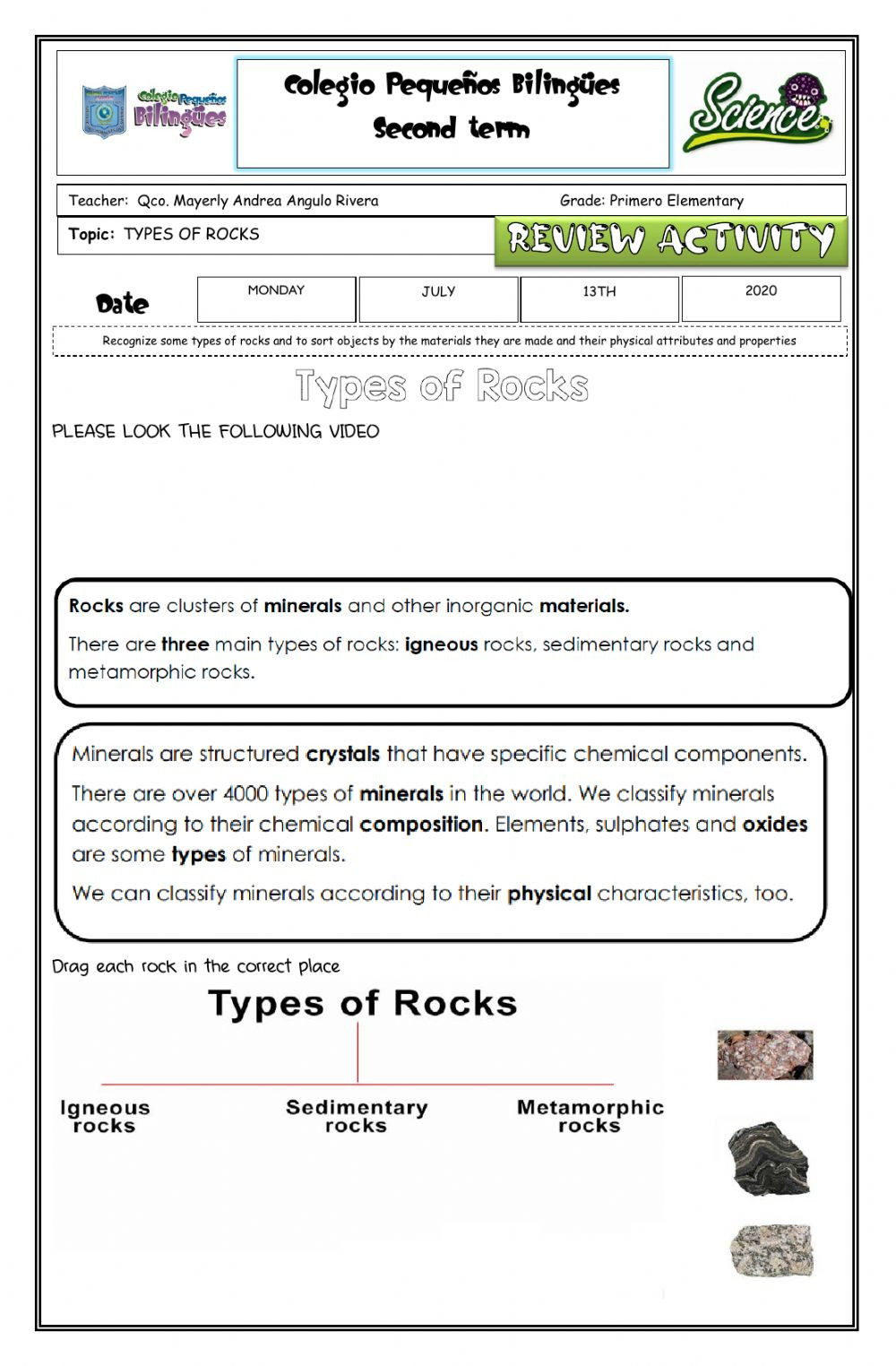 Types Of Rock Worksheet Review Activity Types Of Rocks Trabajo Aut³nomo