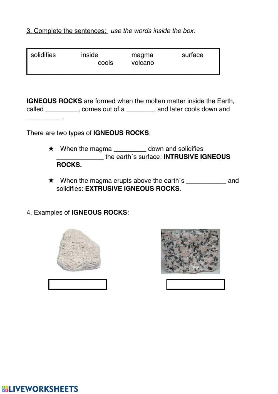 Types Of Rock Worksheet Three Types Of Rocks Interactive Worksheet