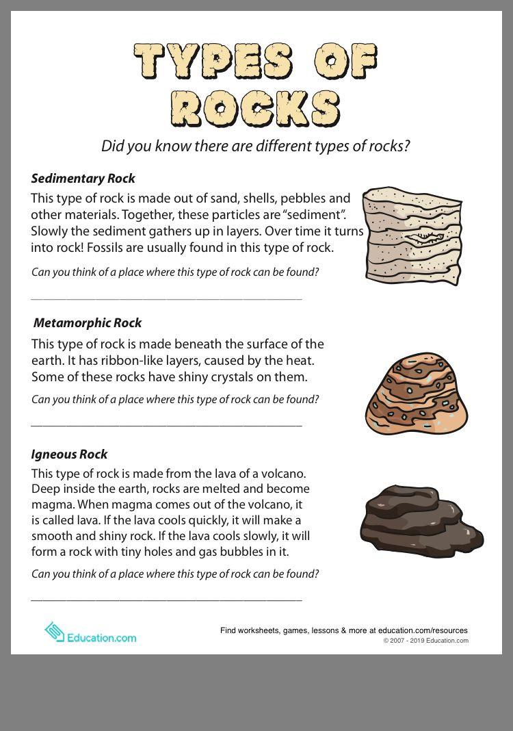 Types Of Rock Worksheet Types Of Rocks
