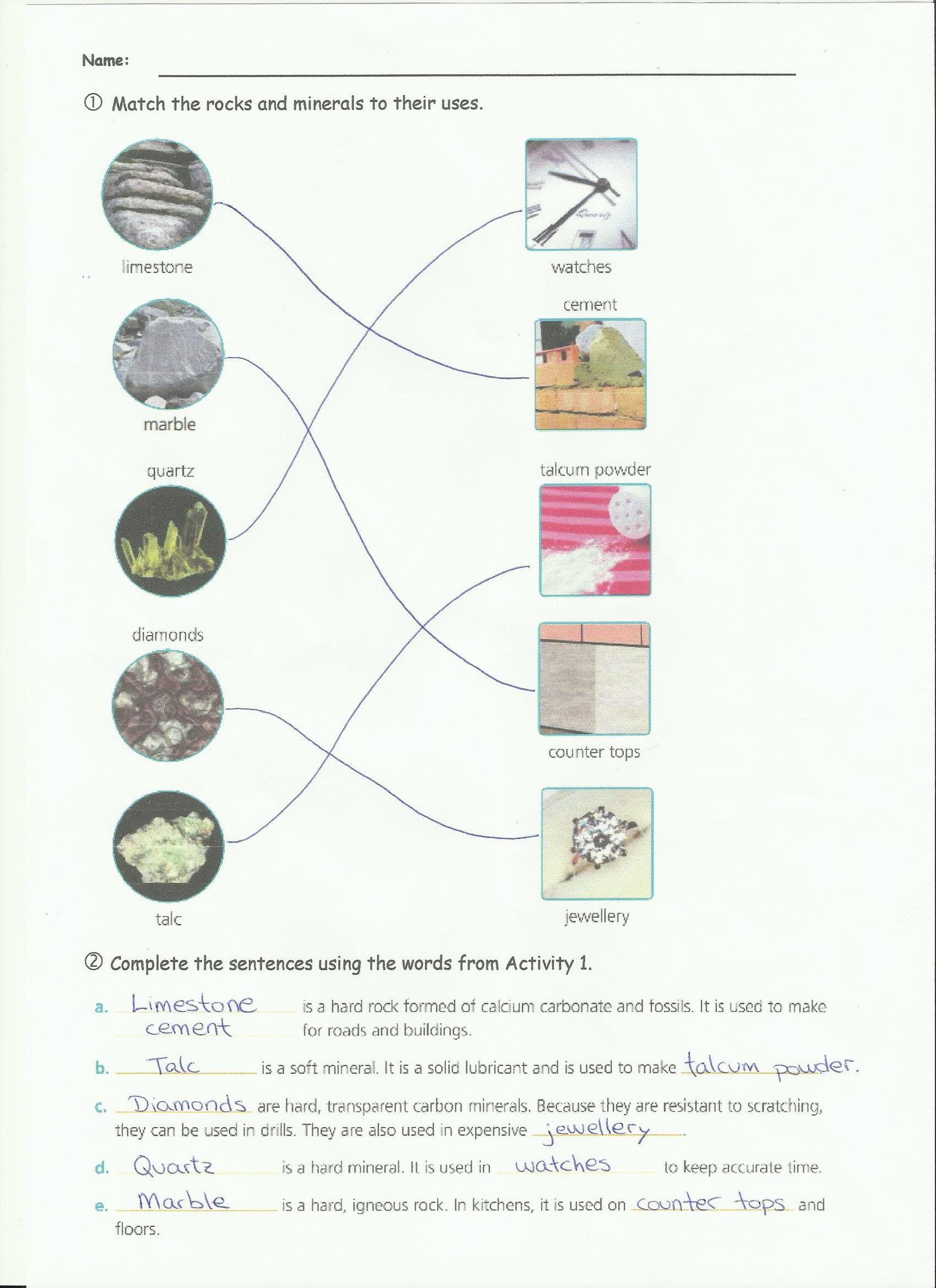 Types Of Rock Worksheet Unit 4 Rocks and Minerals Science 4ºb Ceip José Calvo sotelo