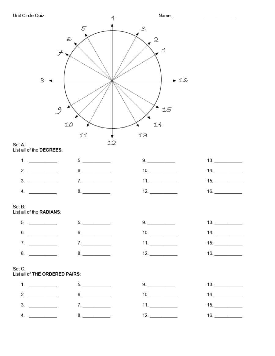 Unit Circle Practice Worksheet 30 Free Unit Circle Chart Templates Templates Bash
