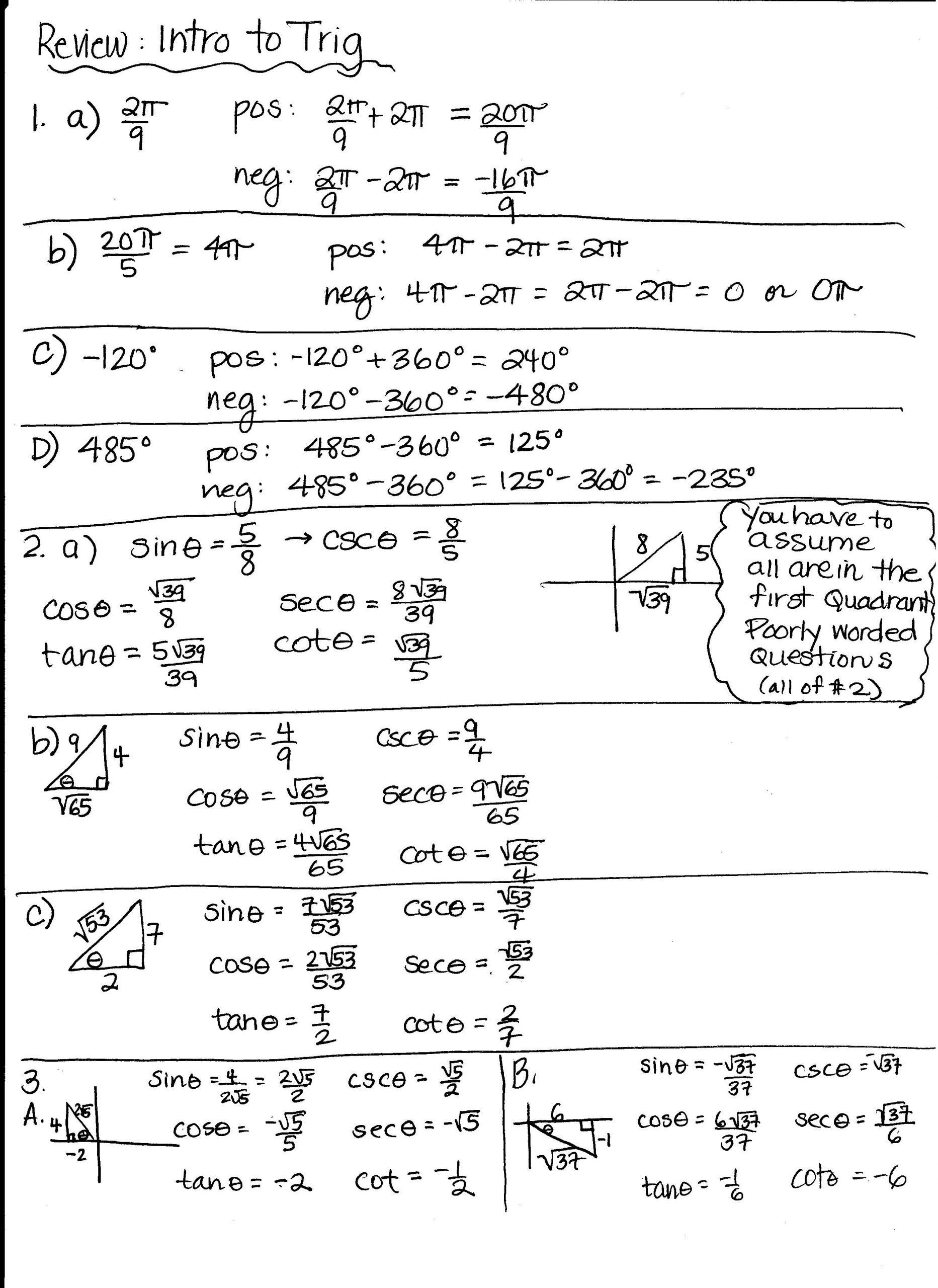 Unit Circle Practice Worksheet Unit 6 Worksheet 4 Using the Unit Circle Answer Key