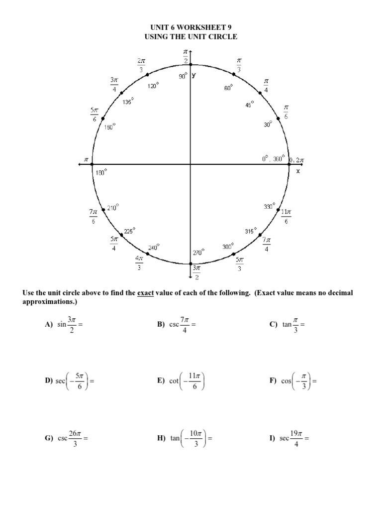 Unit Circle Practice Worksheet Unit 6 Worksheet 9 Using Unit Circle Mixed