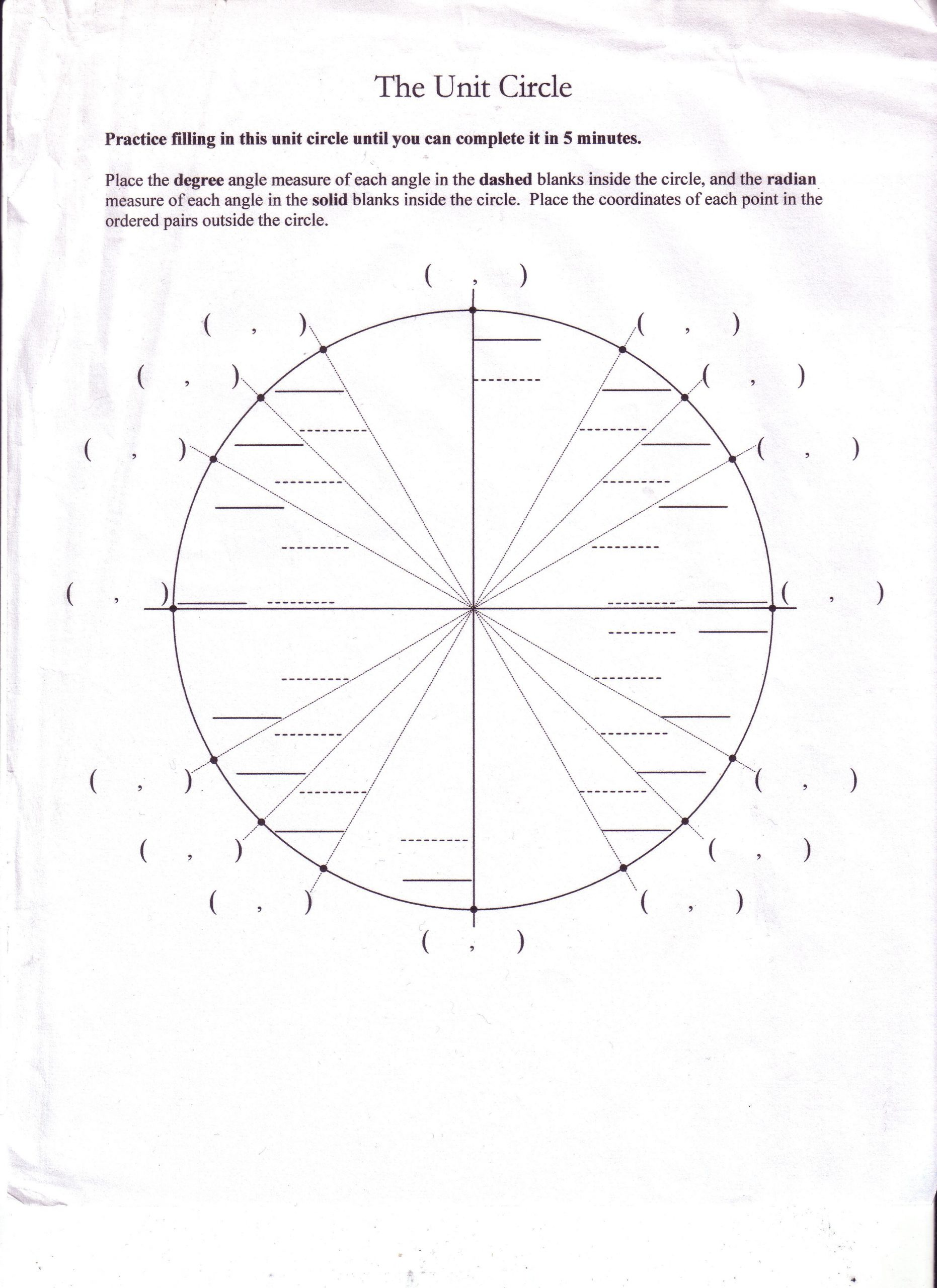 Unit Circle Practice Worksheet Unit Circle Worksheet