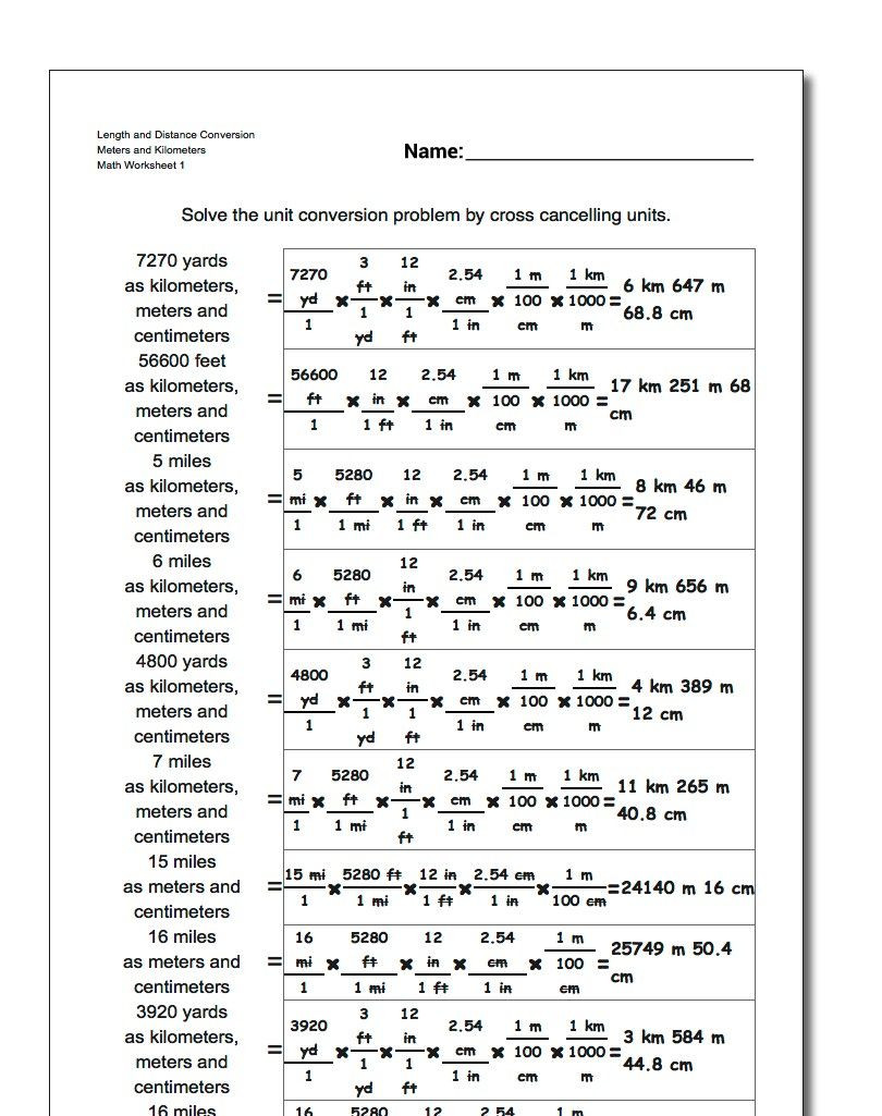 Unit Conversions Worksheet Answers Unit Conversion Worksheets for Converting Customary Lengths