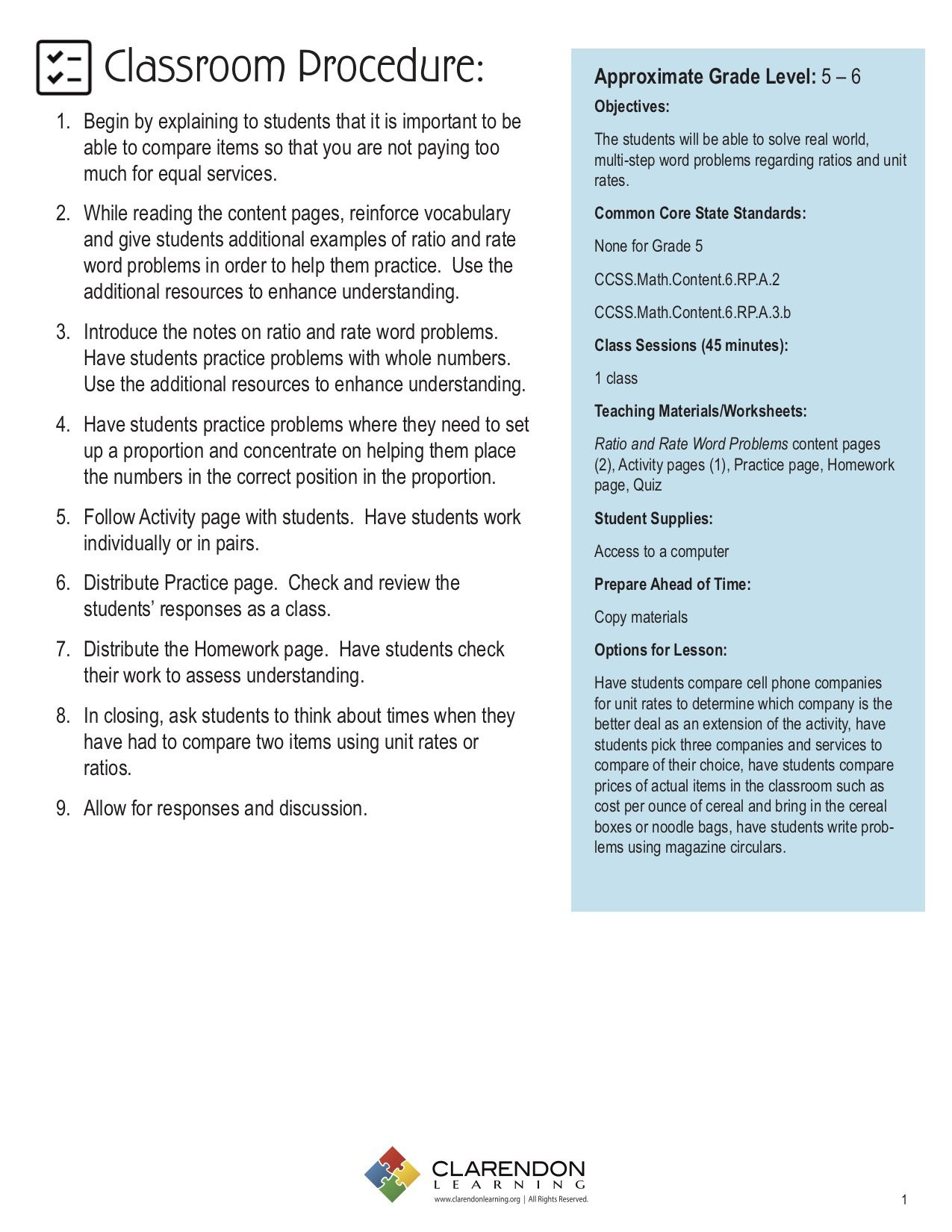 Unit Rate Word Problems Worksheet Ratio and Rate Word Problems