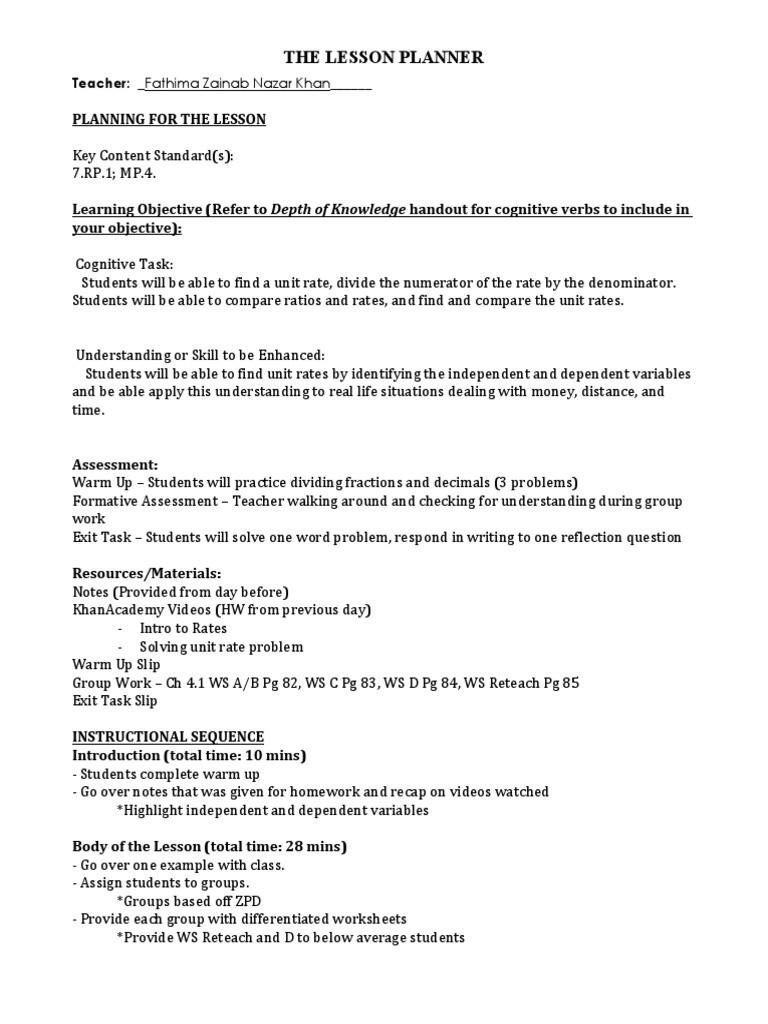 Unit Rate Worksheet 7th Grade Unit Rates Lesson Plan