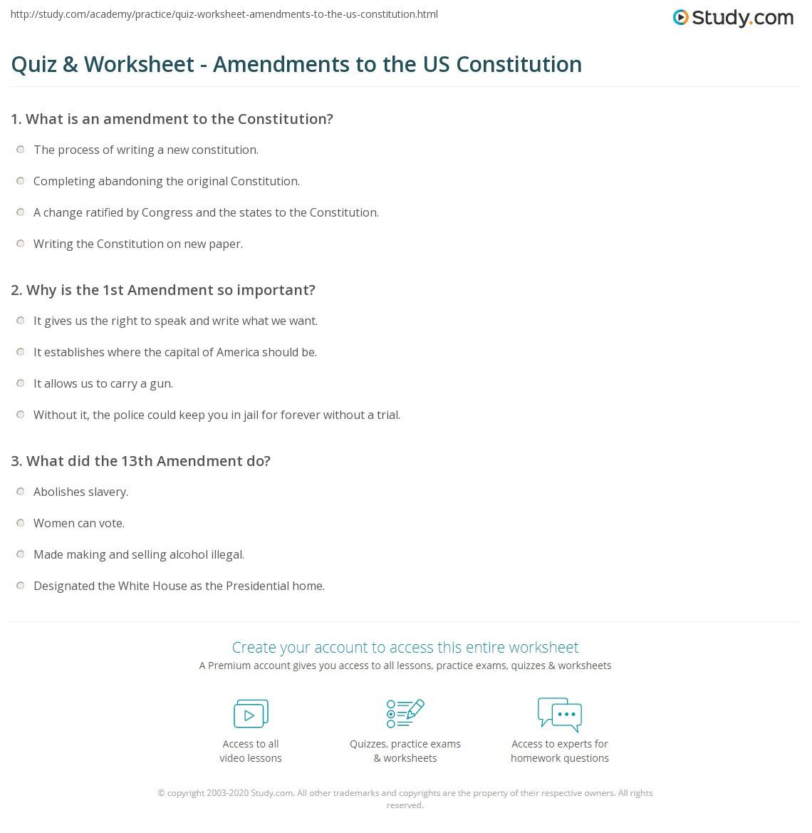 United States Constitution Worksheet Amendment Worksheet