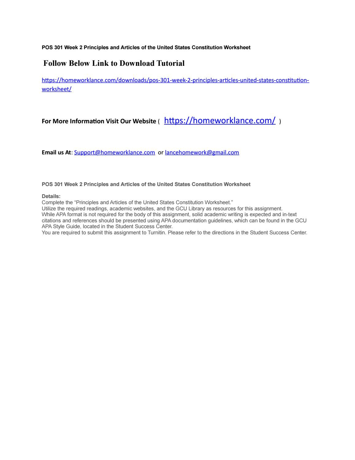 United States Constitution Worksheet Pos 301 Week 2 Principles and Articles Of the United States
