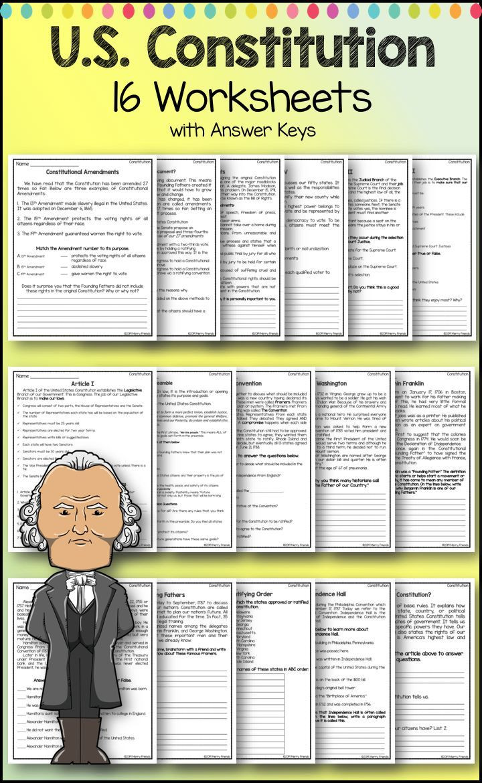 United States Constitution Worksheet United States Government Constitution Worksheets
