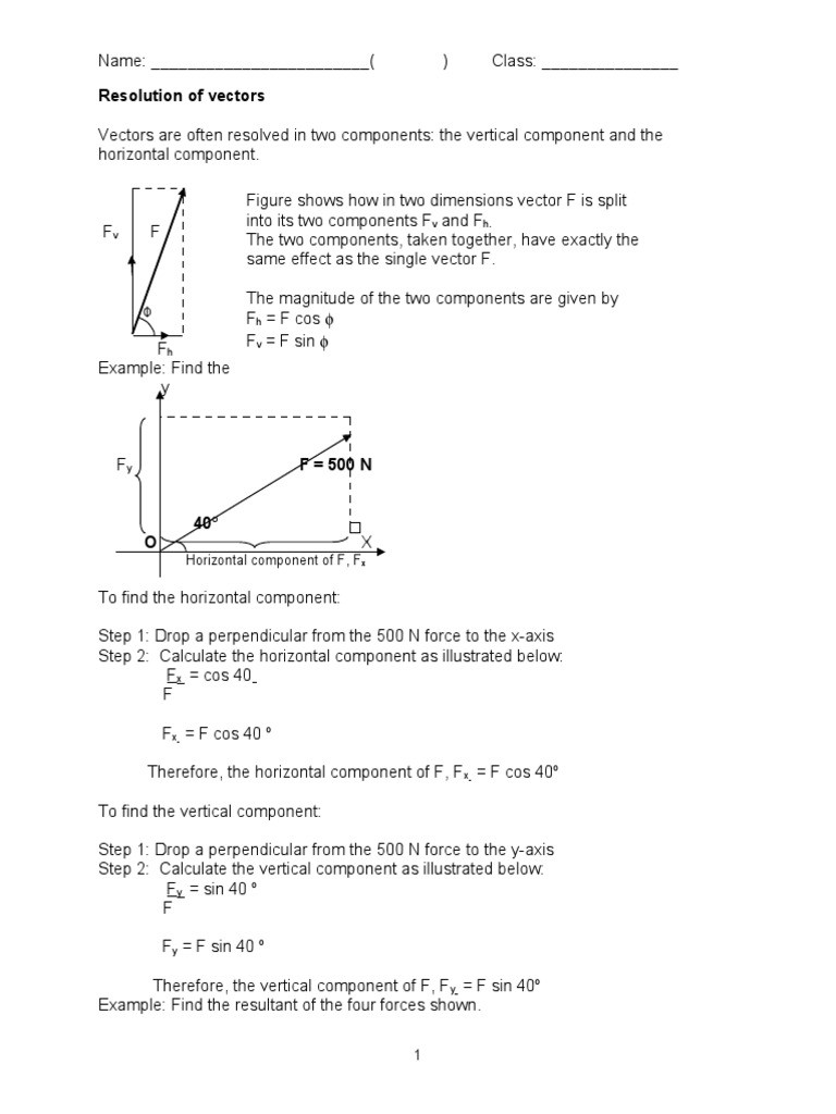Vectors Worksheet with Answers Resolution Of Vectors Student Worksheet