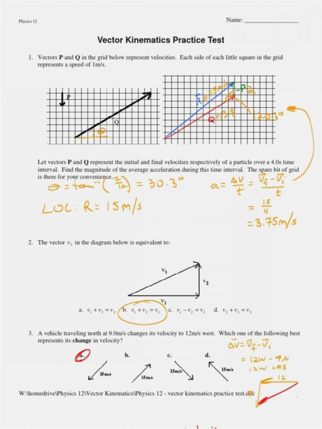 Vectors Worksheet with Answers Two Dimensional Motion and Vectors Worksheet Answers
