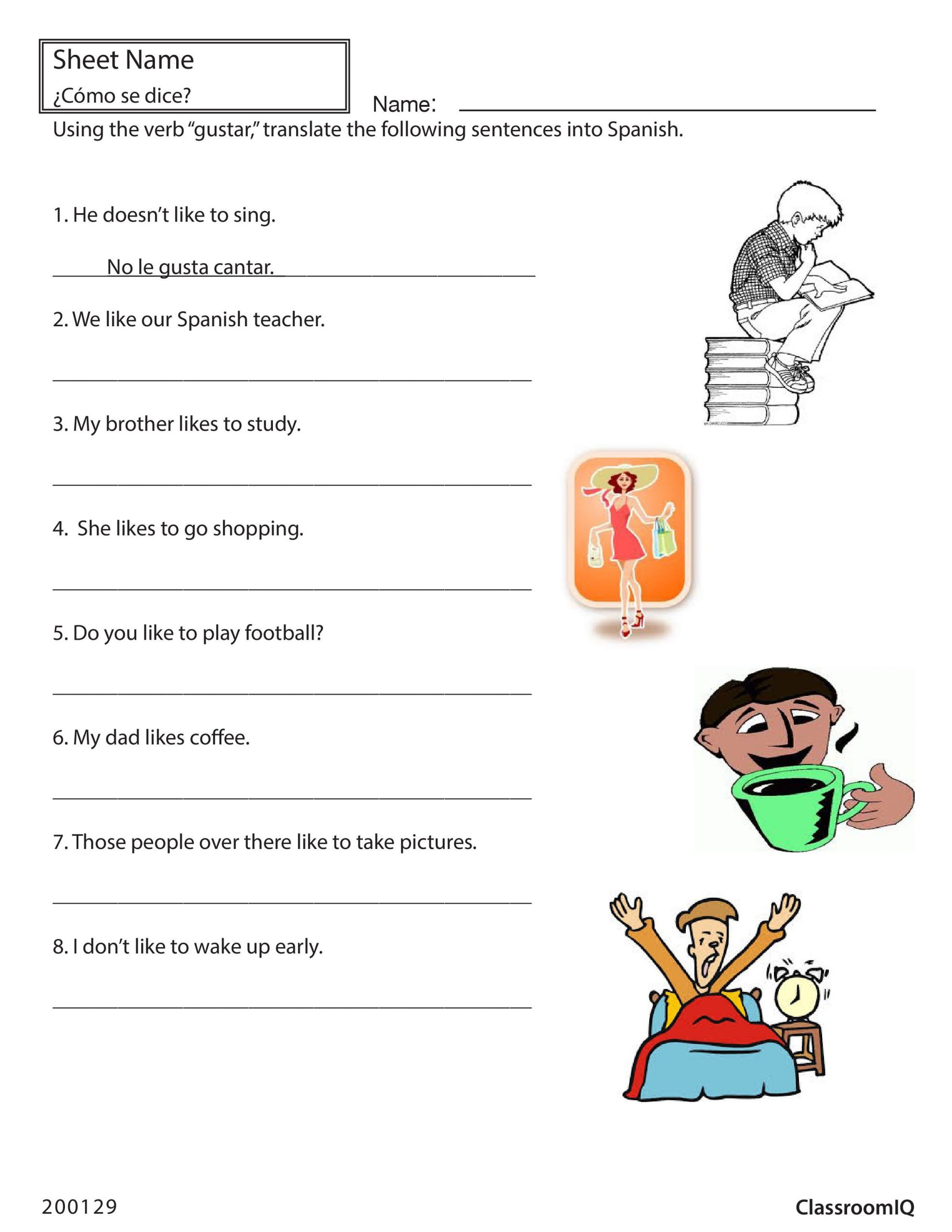 Verbs Like Gustar Worksheet Translate English Sentences with Gustar Spanishworksheet