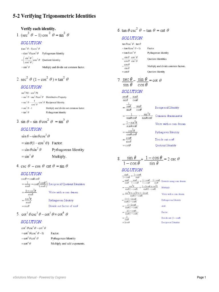 Verify Trig Identities Worksheet 5 2 Verifying Trigonometric Identities Pdf