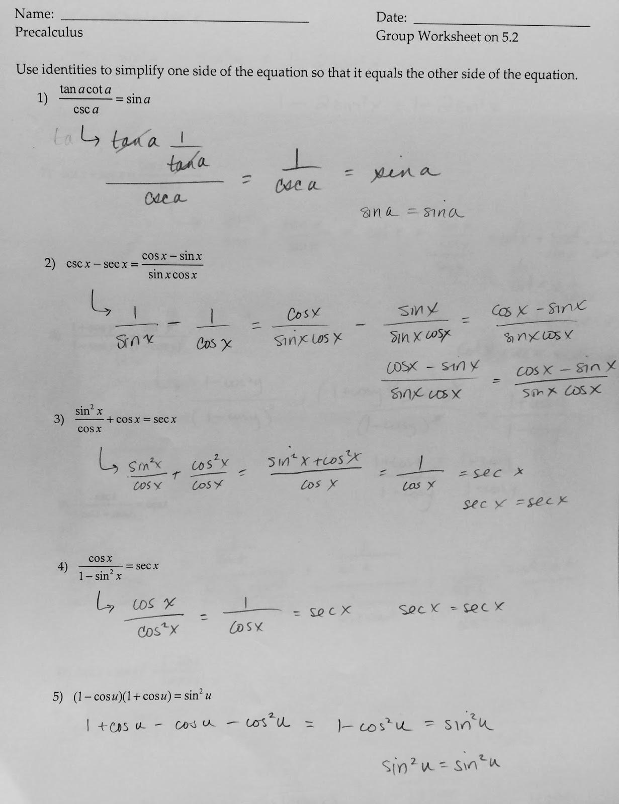 Verify Trig Identities Worksheet 5 3 solving Trig Equations Worksheet 2 Precalculus Answers