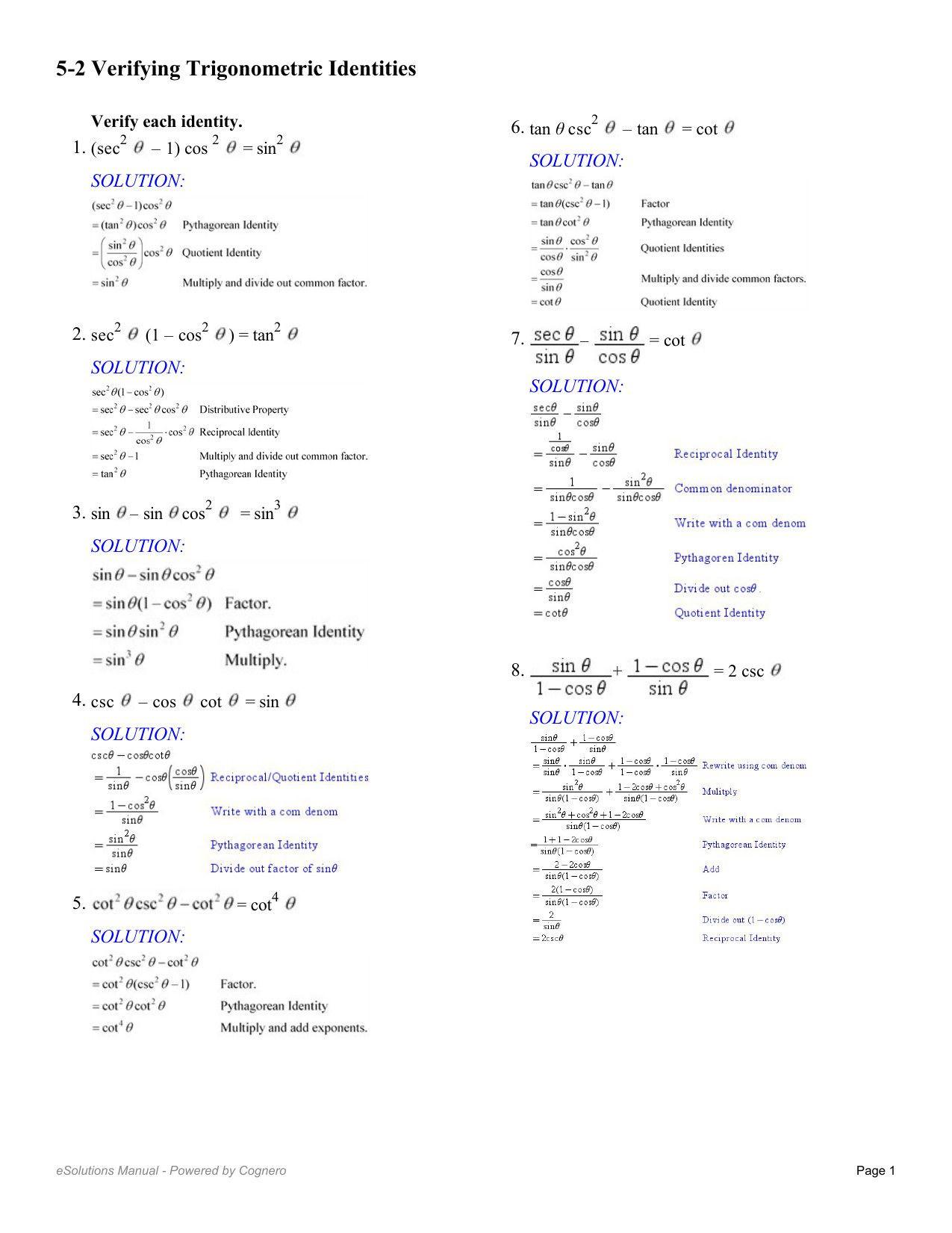Verify Trig Identities Worksheet Legalperiodic Verifying Trigonometric Identities Worksheet