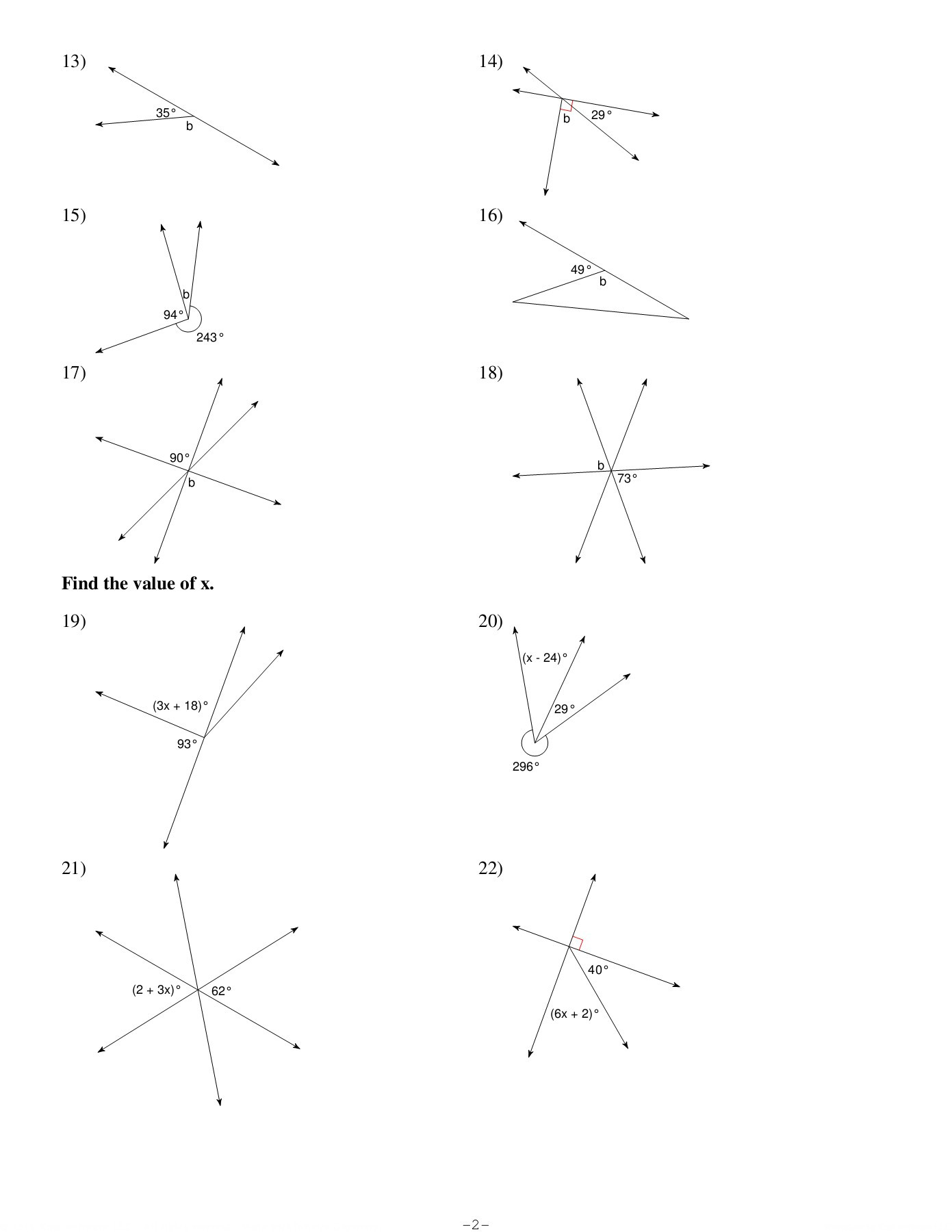 Vertical Angles Worksheet Pdf Angle Relationships Kuta software Llc Pages 1 4 Text