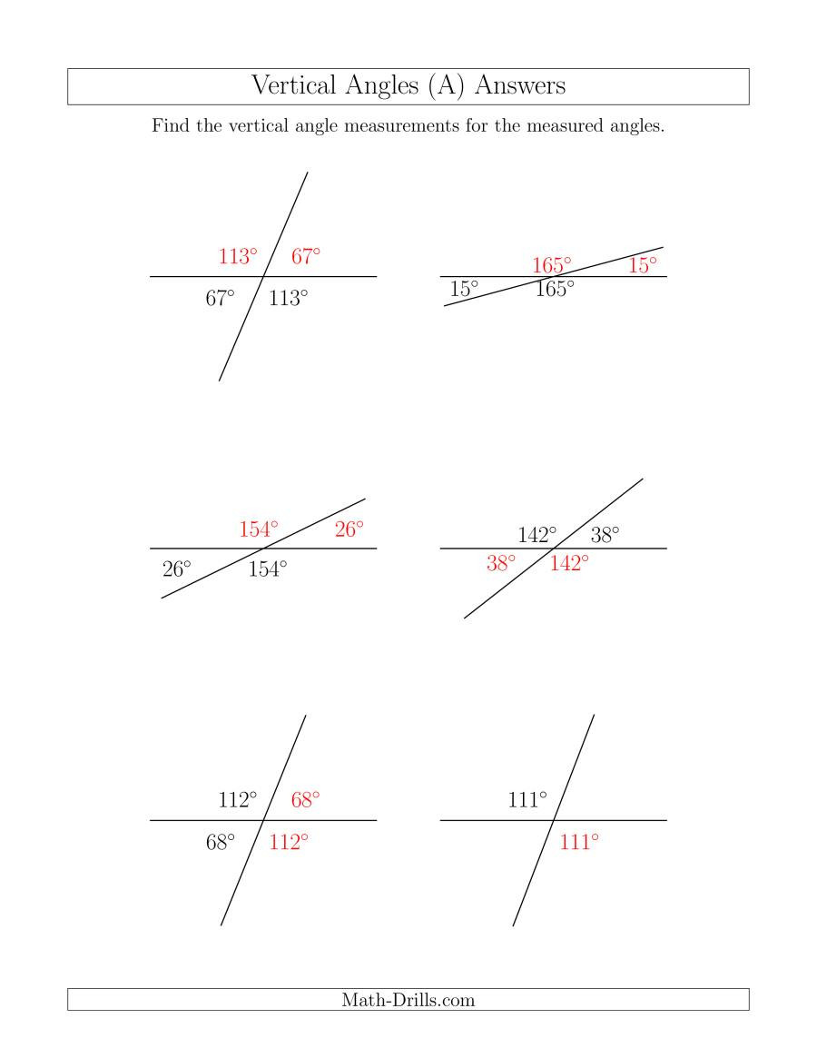 Vertical Angles Worksheet Pdf Vertical Angle Relationships A