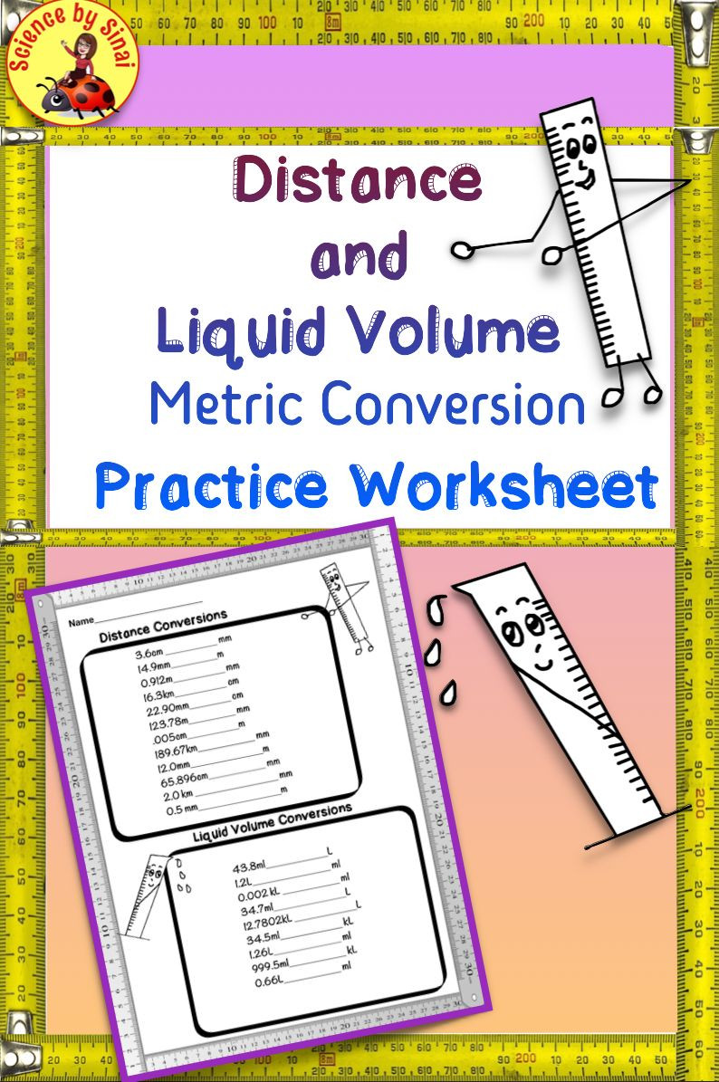 Volume by Water Displacement Worksheet Distance and Liquid Volume Metric Conversions Practice