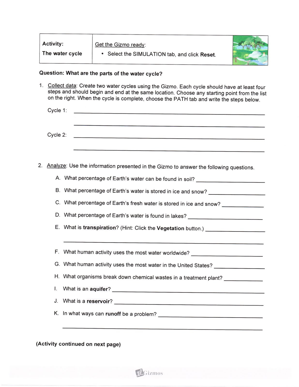 Water Cycle Worksheet Answer Key Paimein Student Exploration Water Cycle Answer