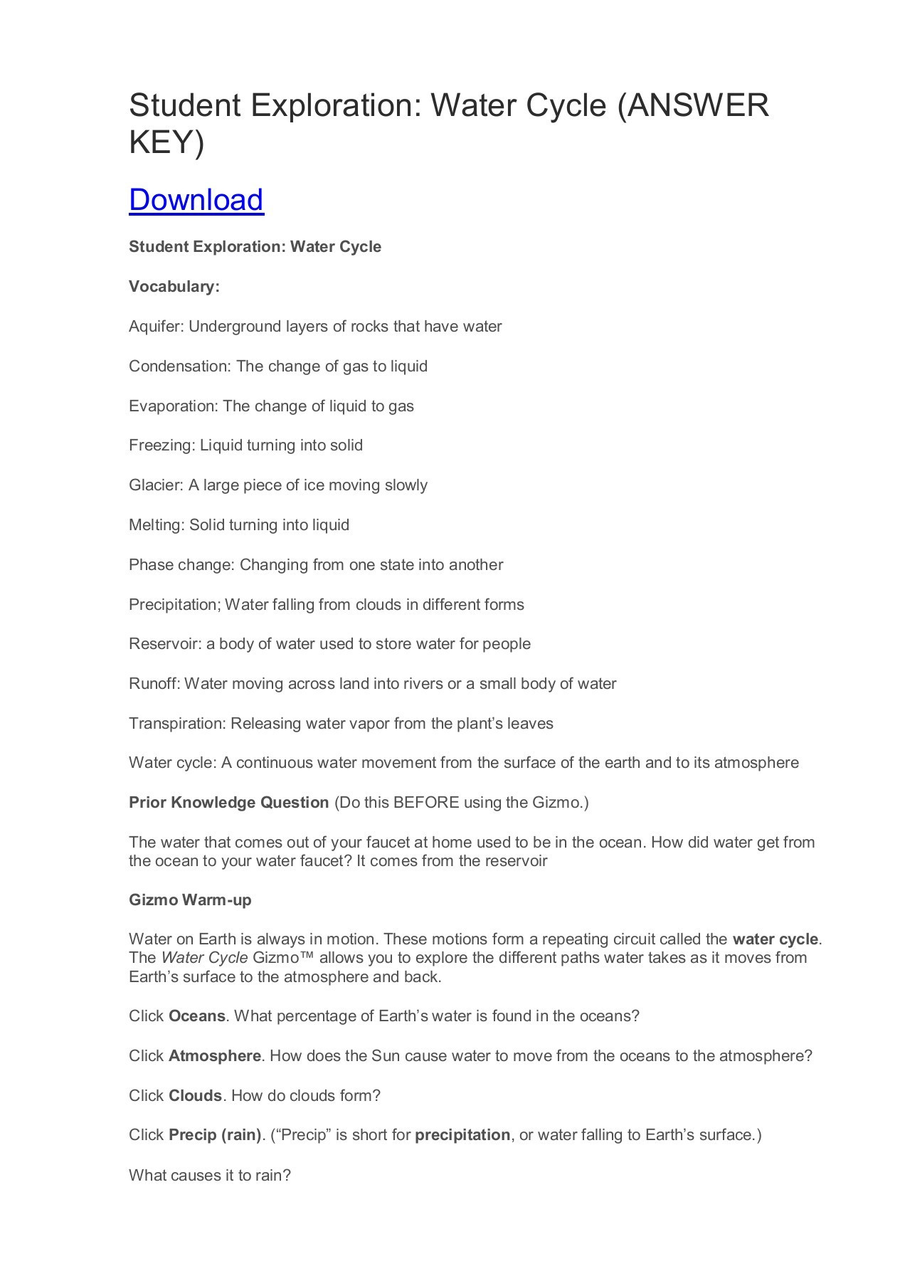 Water Cycle Worksheet Answer Key Student Exploration Water Cycle Answer Key Pages 1 3