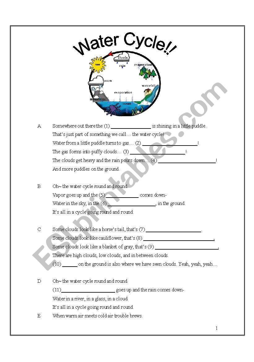 Water Cycle Worksheet Answer Key Water Cycle song with Fill In the Blanks Esl Worksheet