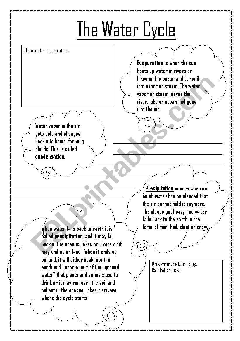 Water Cycle Worksheet Pdf Water Cycle Esl Worksheet by Kdowns02