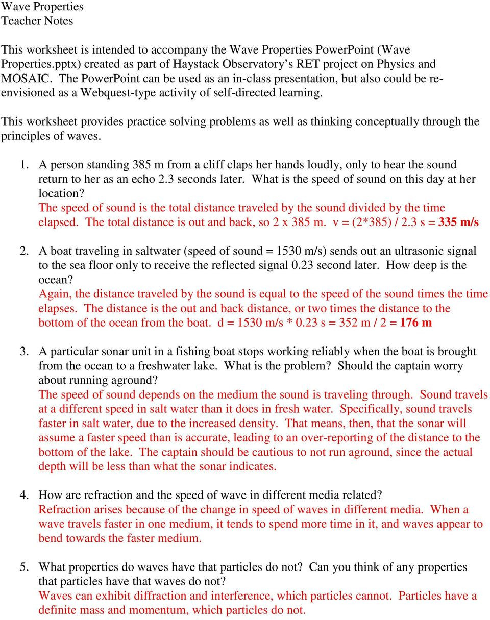 Wave Review Worksheet Answer Key Answer the Following Questions During or after Your Study Of