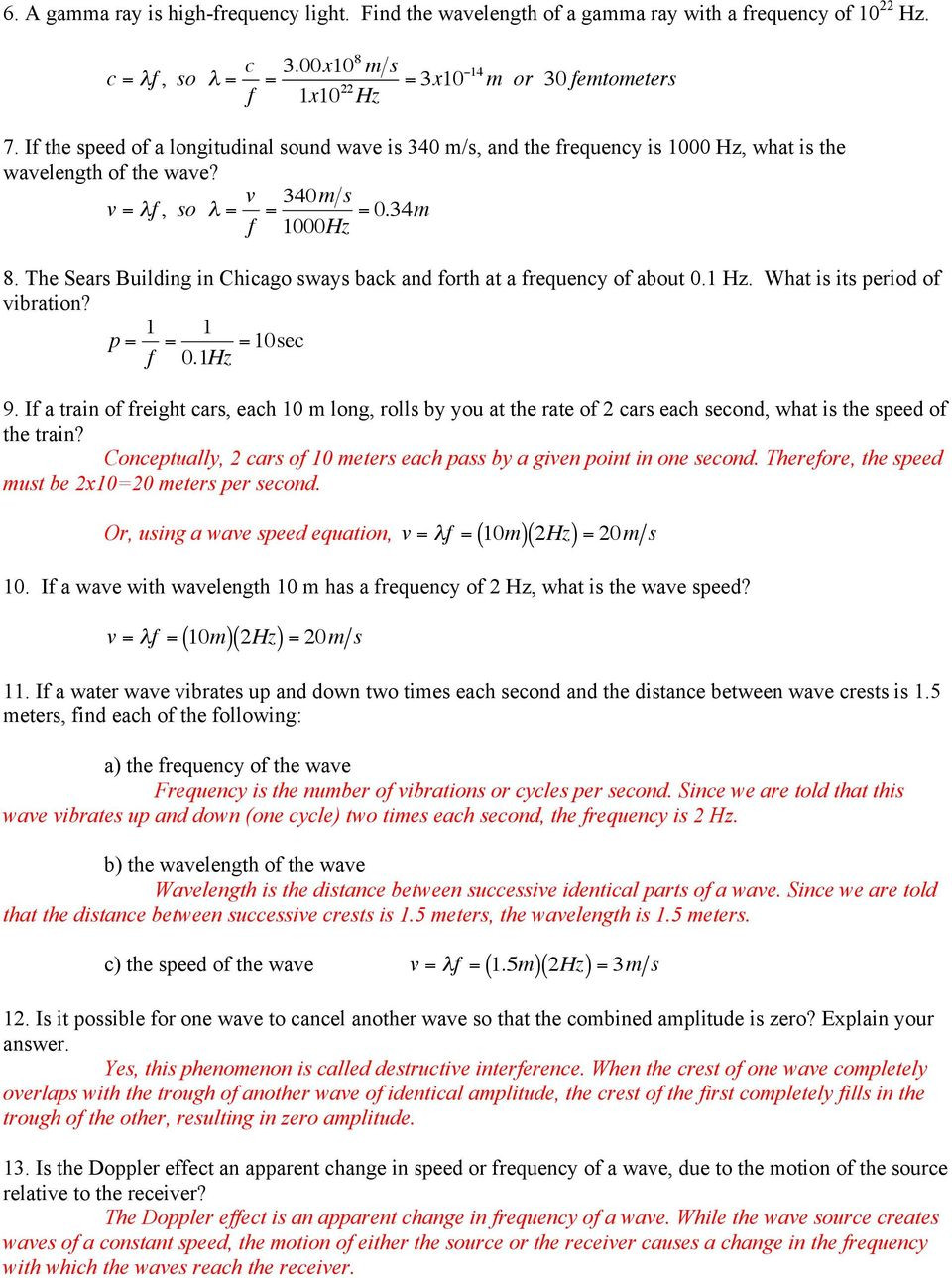 Wave Review Worksheet Answer Key Conceptual Physics Review Chapters 25 26 27 & 28 Chapter