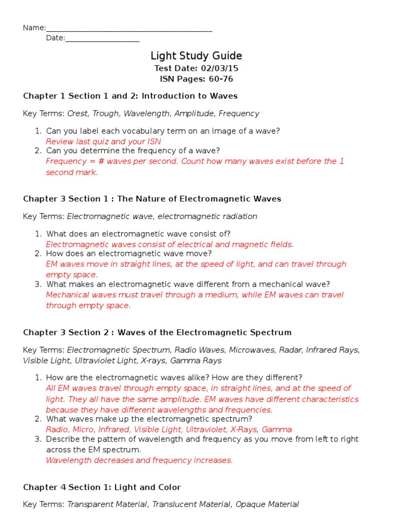 Wave Review Worksheet Answer Key Light Study Guide Answers Electromagnetic Radiation