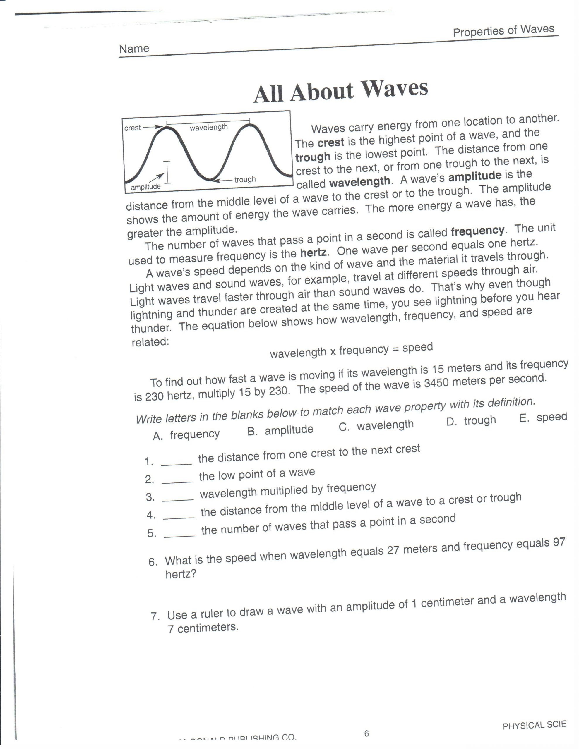Wave Review Worksheet Answer Key Physical Science March 2013