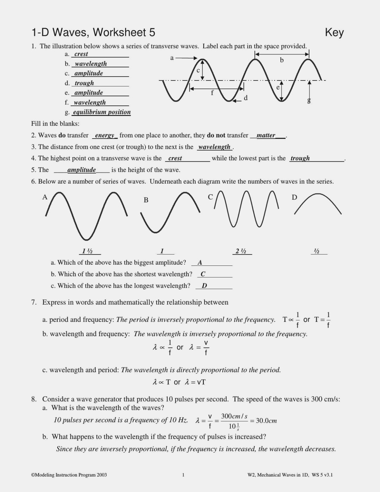 Waves Worksheet 1 Answers 33 Waves Worksheet Answer Key Free Worksheet Spreadsheet