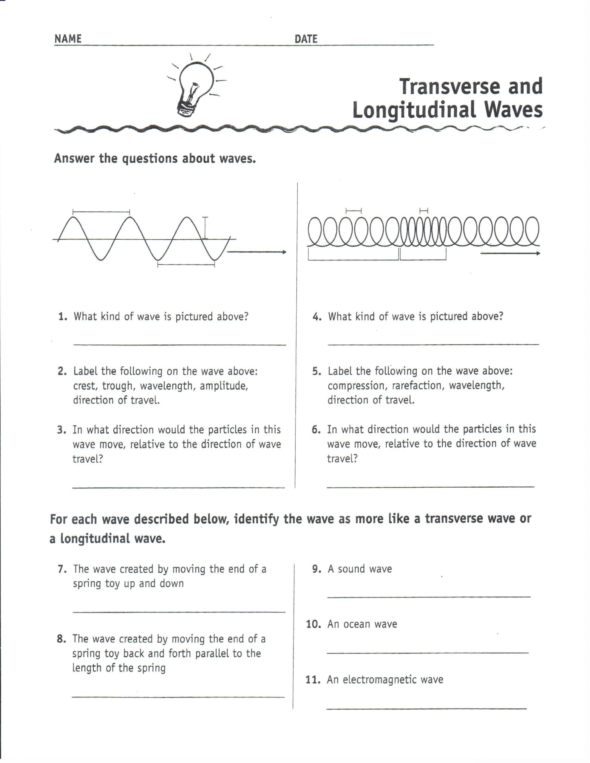 Waves Worksheet 1 Answers Physical Science Transverse and Longitudinal Waves 1uyxl0i