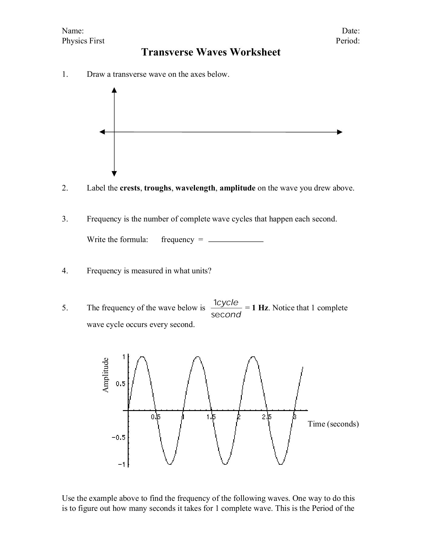 Waves Worksheet 1 Answers Transverse Waves Worksheet Varga Sturgis Home Pages 1