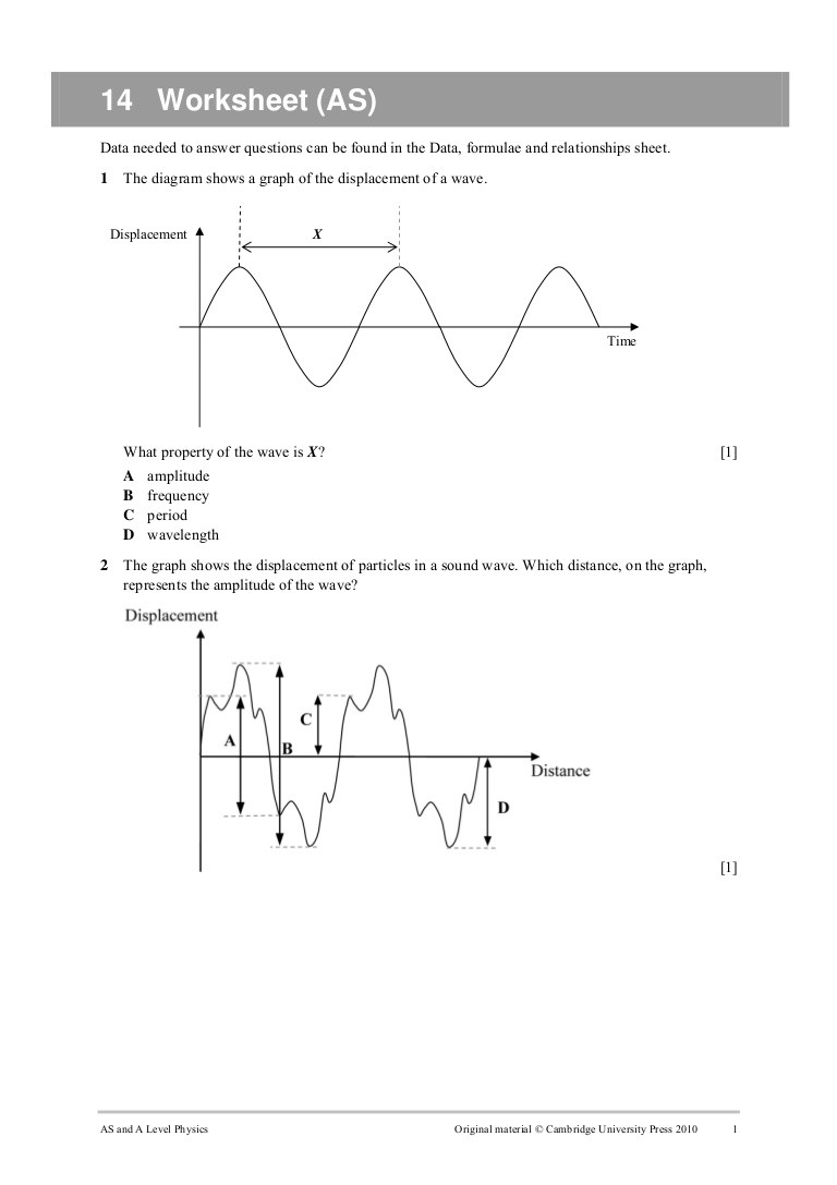 Waves Worksheet 1 Answers Worksheet 14