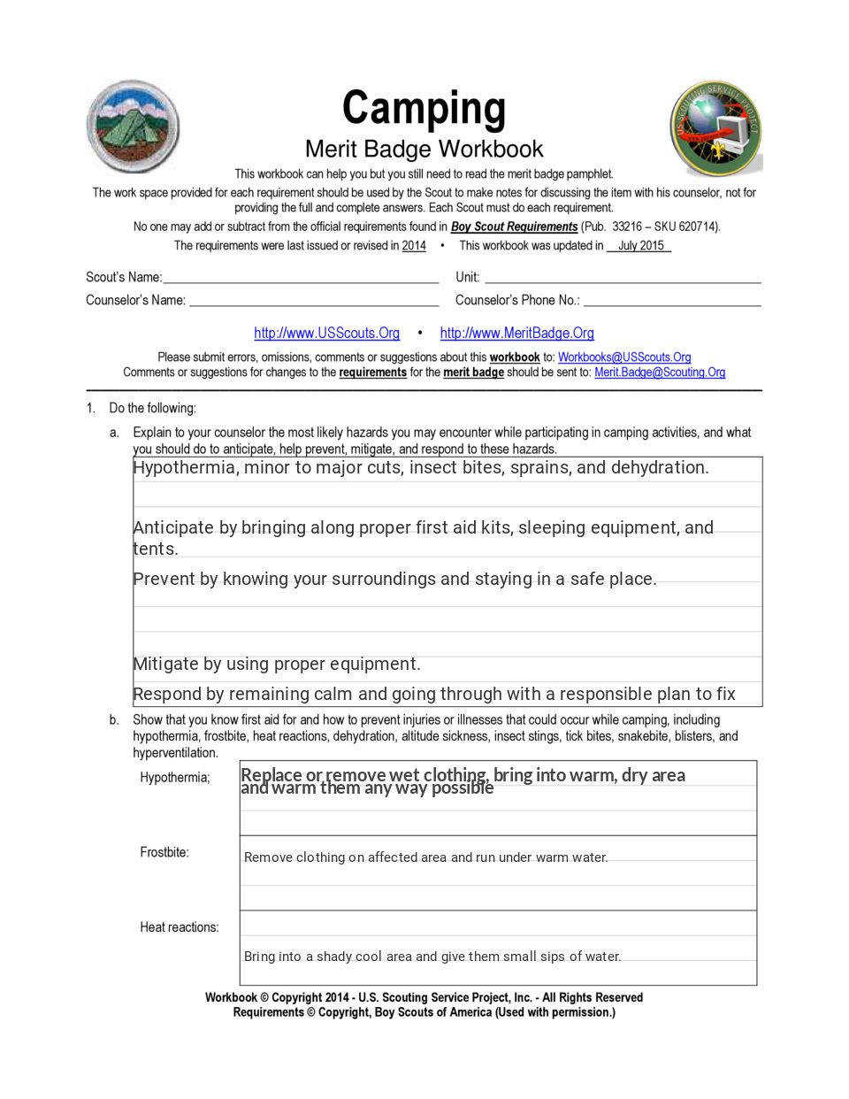 Weather Merit Badge Worksheet Camping Merit Badge Simplebooklet