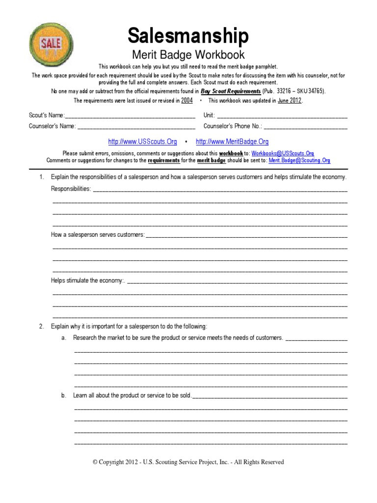 Weather Merit Badge Worksheet Salesmanship Boy Scouts America