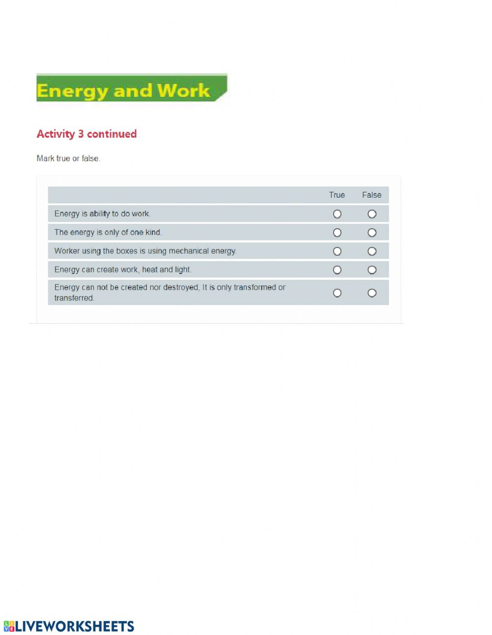 Work and Energy Worksheet Energy and Work Interactive Worksheet