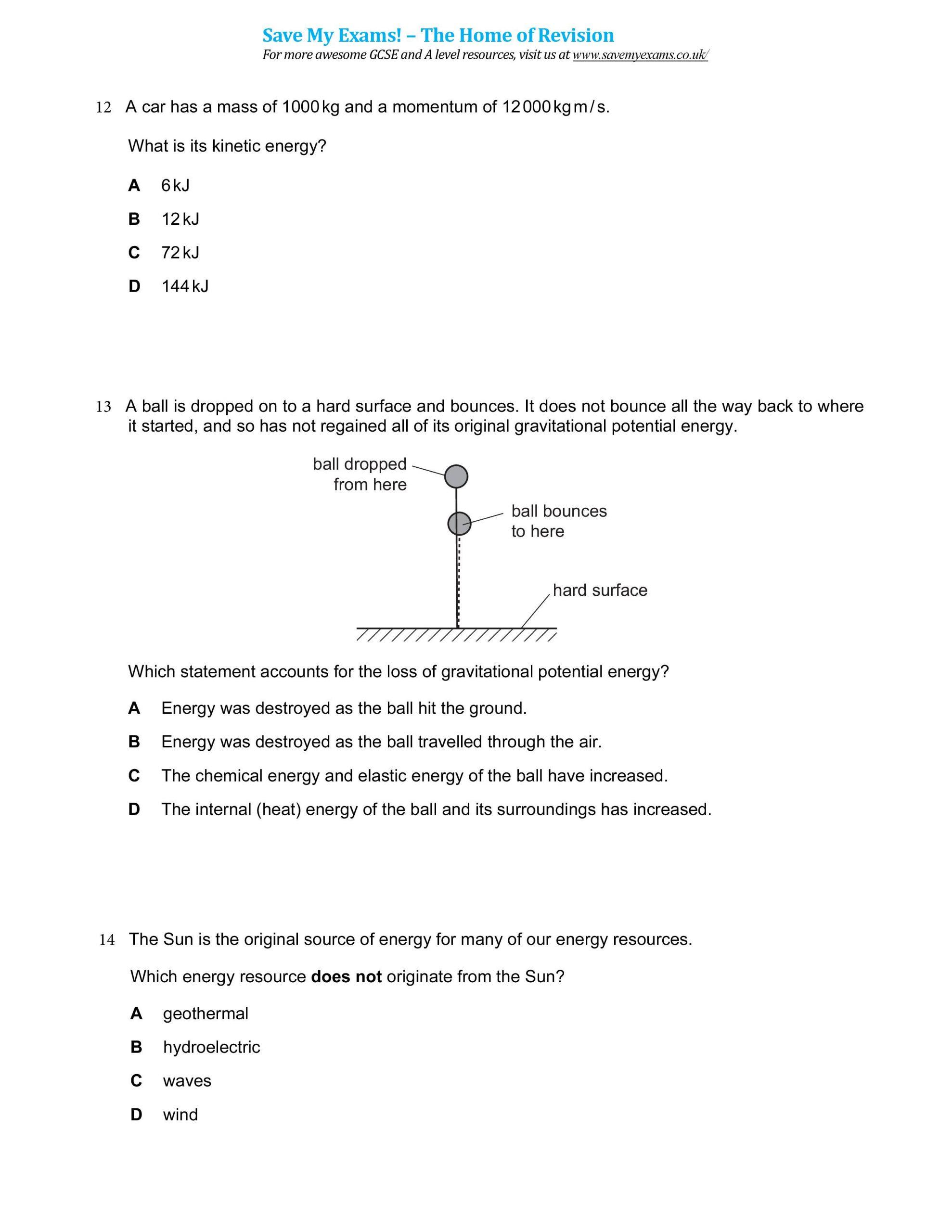 Work and Energy Worksheet Igcse Physics Notes Notes