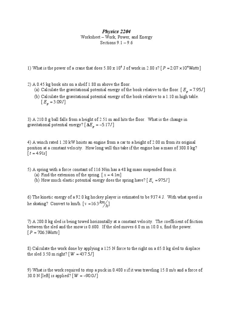 Work and Energy Worksheet Work Power and Energy Worksheet Worksheet List